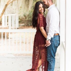 Lace burgundy maxi